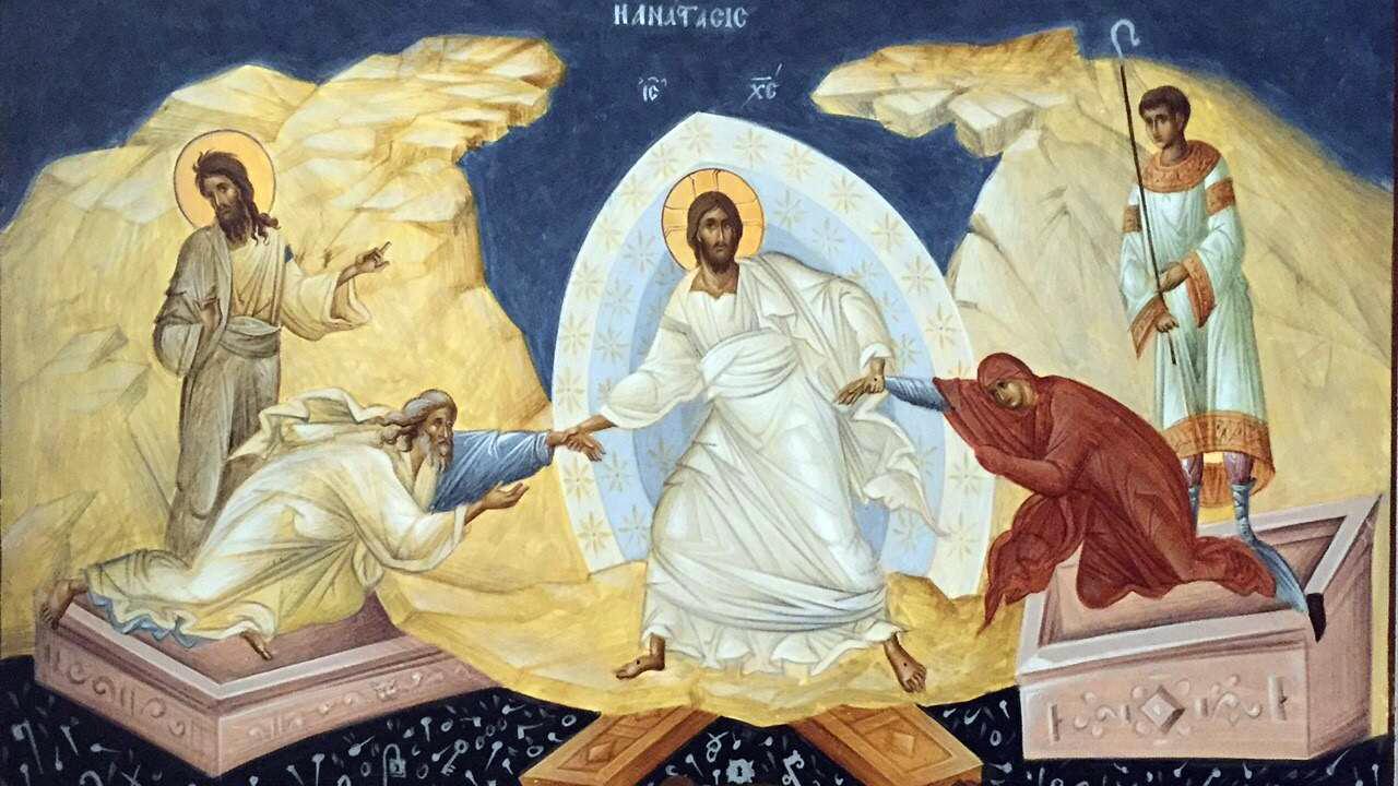 P. Benedict erwähnt in seiner Predigt die byzantinsche Osterikone. Hier ein Beispiel.
