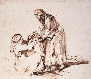 Jesus heilt die Schwiegermutter von Petrus. Skizze von Rembrandt.