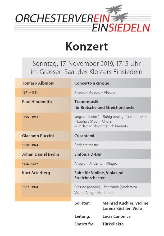 Konzert Orchesterverein Einsiedeln