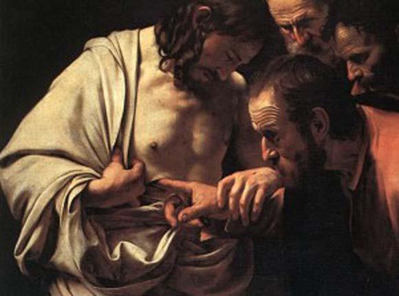 Jesus lässt seine Seitenwunde von Thomas berühren. Gemälde von Caravaggio (1602).